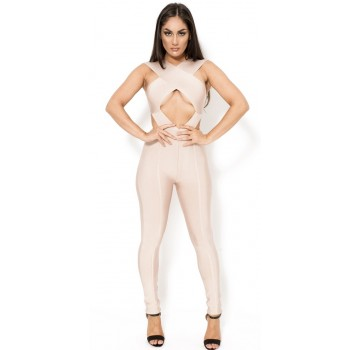 'Ami' nude cut out bandage jumpsuit