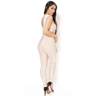 'Aami' nude cut out bandage jumpsuit