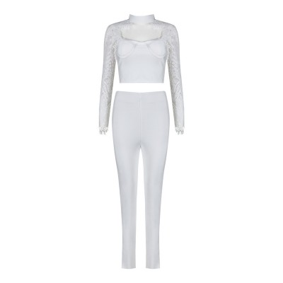 'Aanya' white bandage pants and top with lace