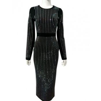 'Aasa' zwarte lange jurk met kristallen