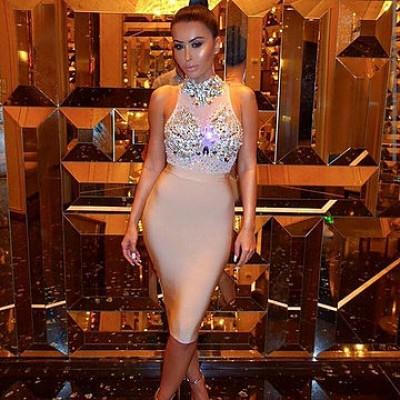 'Amra' nude bandage jurken met kristallen