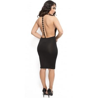 'Angelica' zwarte midi jurk met open rug