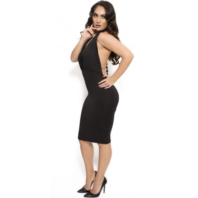 'Angelica' black plunging midi dress with open back