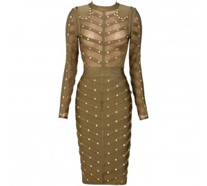'Antonia' khaki green bandage dress with studs and long sleeves