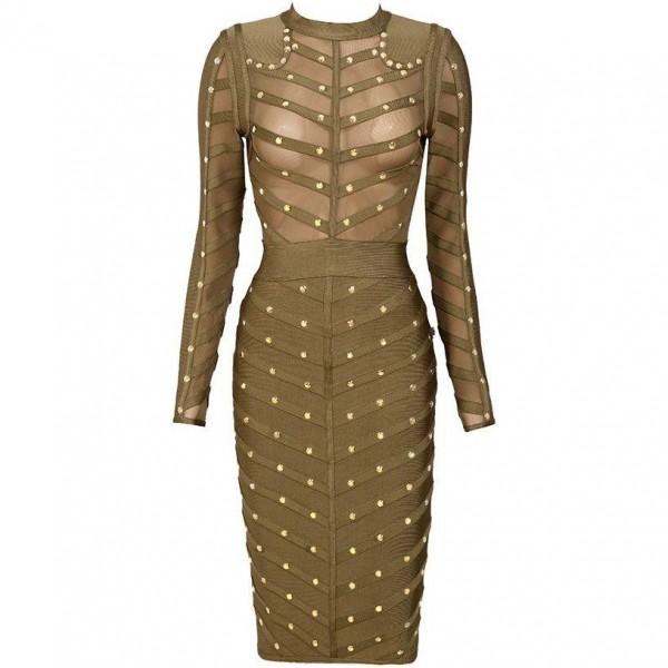 39 antonia 39 kaki groene bandage jurk met studs en lange mouwen. Black Bedroom Furniture Sets. Home Design Ideas