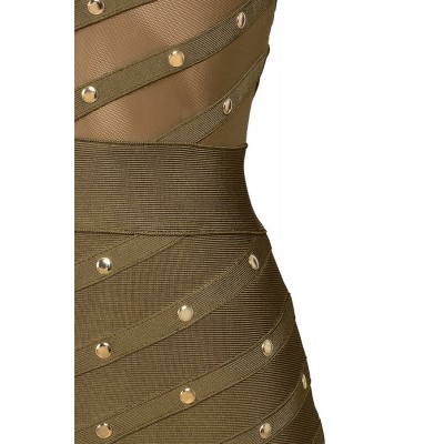 'Antonia' kaki groene bandage jurk met studs en lange mouwen