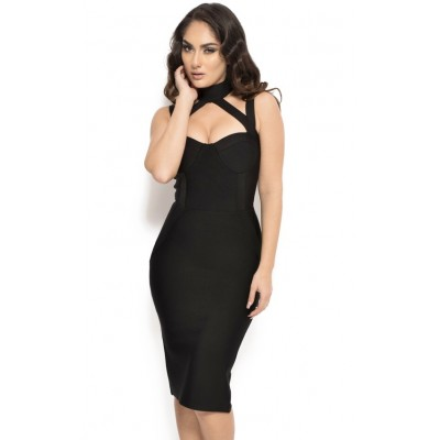 'Anxhela' black bandage dress with halterneck