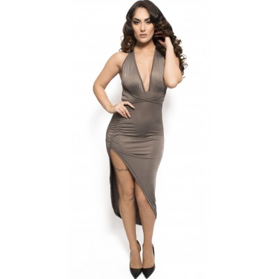 'Jayce' gray long dress with deep neckline