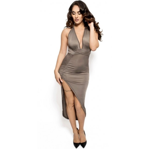 6a45fa961209 Sexy gray dress with plunging neckline and a slit on the side