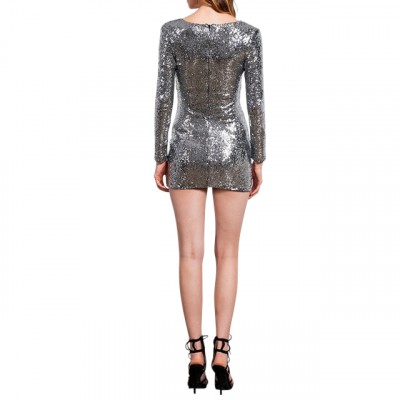 'Akasha' silver long dress with sequins and turtleneck