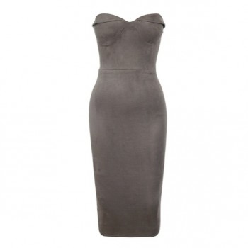 'Anarosa' gray suede strapless dress