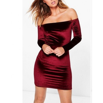 'Aasia' burgundy velvet off shoulder dress