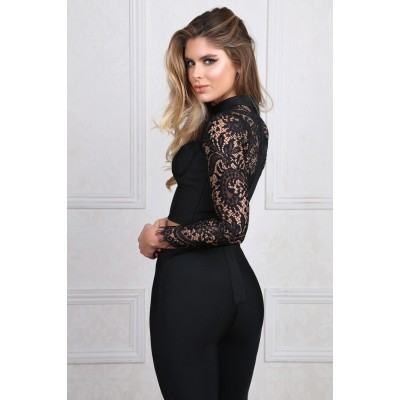 'Aanya' black bandage pants and top with lace