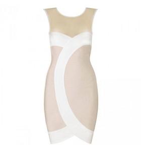 Beige/Witte gaas bandage jurk