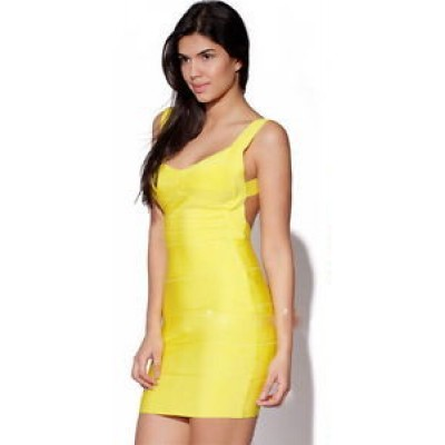 'Christina' yellow backless bandage dress