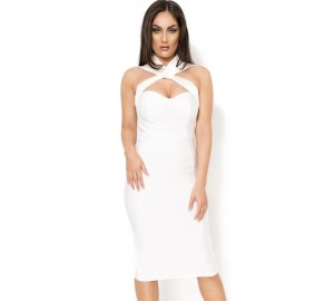 'Acadia' crossed white midi bandage dress