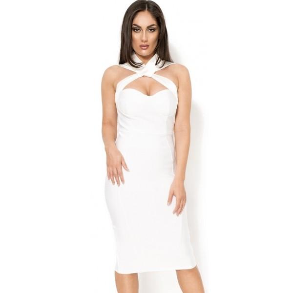 8aac885f2ec337  Acadia  gekruiste witte midi bandage jurk