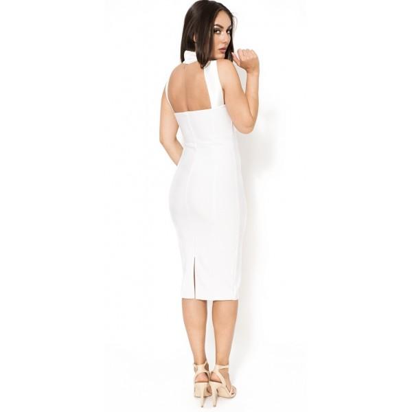 984463ef896eb8 ... gekruiste witte midi bandage jurk   ...