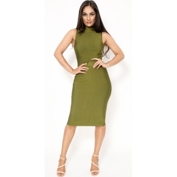 'Abra' green midi bandage dress with high neck