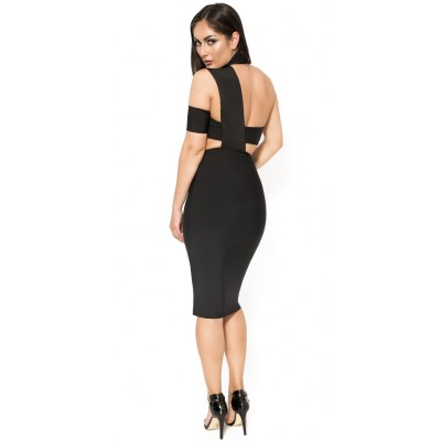 'Armani' black midi bandage dress with neck choker