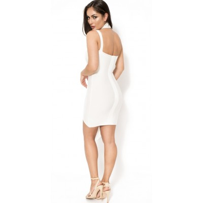 'Anne' white mini bandage dress with halterneck
