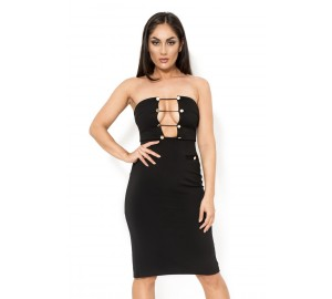 khloe 'Black strapless dress with golden buttons