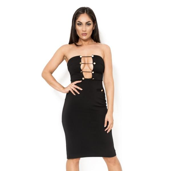 Schwarzes trägerloses Kleid mit goldenen Knöpfen an der Büste im ...