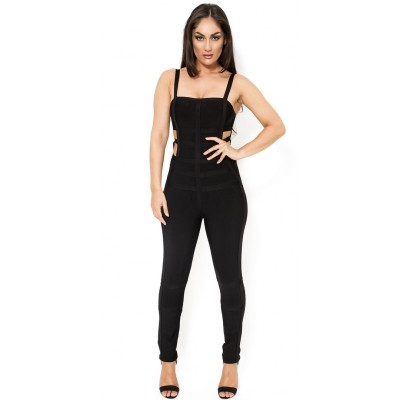 'Kylie' black cut out bandage jumpsuit