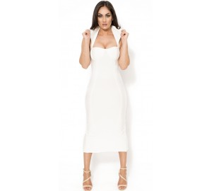 Vamp' white midi bandage dress with high collar