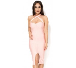 'Aalin' blush bandage dress with halterneck