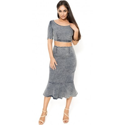 'Aanisa' denim two piece dress with fluted hem