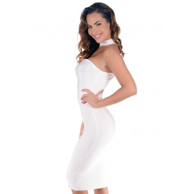 'Aarya' white strapless bandage dress with choker