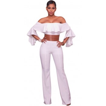 'Aadaya' witte off shoulder jumpsuit