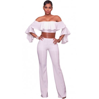 'Aadaya' white off shoulder  jumpsuit