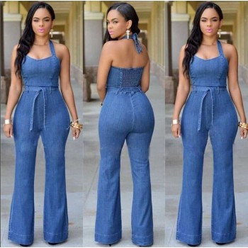'Aike' flared jeans jumpsuit