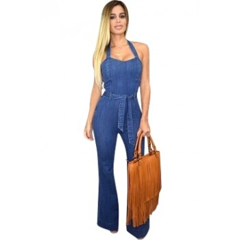 'Aike' flared denim jumpsuit