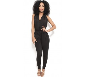'Ainoa' black backless jumpsuit with deep v neck