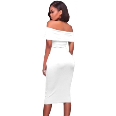 'Alana' white midi off shoulder bodycon dress