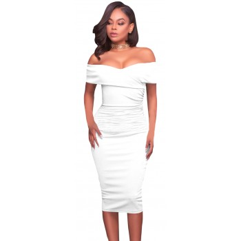 'Alana' witte knielange off shoulder bodycon jurk