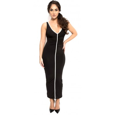 'Alexa' black long bodycon dress