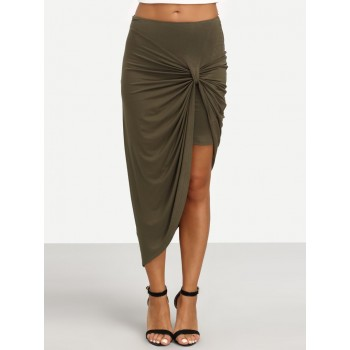 'Annabel' Asymmetric khaki green skirt