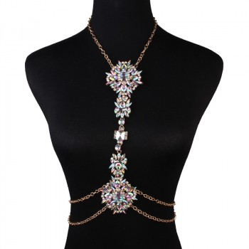 'Anja' Gold body chain with big rhinestones