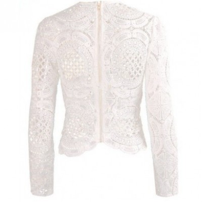 'Aily' Crocheted white lace top