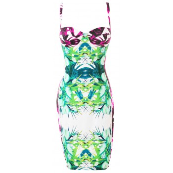 'Aaliya'Aadvika' bandage dress with tropical print