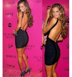'Christina' Black backless bandage dress