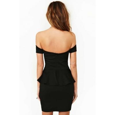 Off shoulder black peplum dress