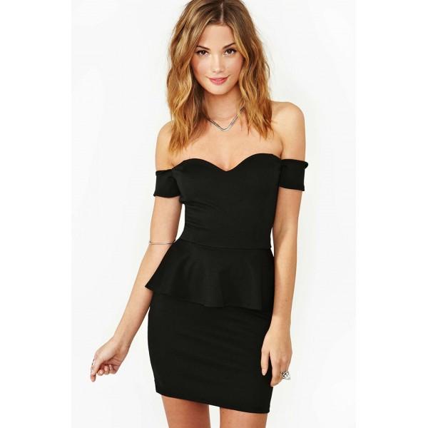 Off Schulter schwarz Schößchen-Kleid