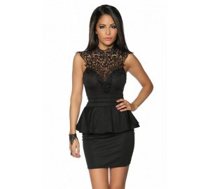 Elegant peplum dress with lace