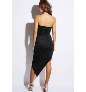 Gedrapeerde strapless bodycon jurk