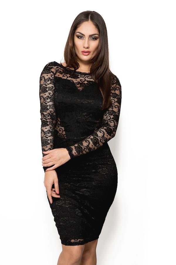 Zwart strak jurkje lange mouw